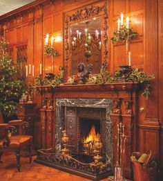 This manor style fireplace