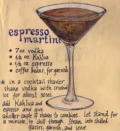espresso martini *my personaltouch:top it w/whipp cream and covered chocolate espresso beans & chocolate sauce drizzle!!  Yum!