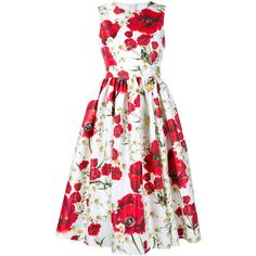 Dolce & Gabbana Sleeveless Floral Print Cotton-Silk Dress ($1,885) ❤ liked on Polyvore featuring dresses, vestidos, summer dresses, cinched waist dress, floral print dress, floral dress and pleated dress