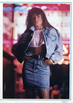 1987 shows different colors of denim. Denim was very in style with bleached looks and denim on denim. Today denim has come back again but also never will go out of style. The crop top makes a statement as well. 4-27-17 colette smith
