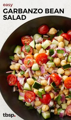 Need a super simple side? This fresh salad filled with chopped cucumbers, red onions, cherry tomatoes and garbanzo beans is a hit at BBQs and makes a nice addition to any lunch or dinner.