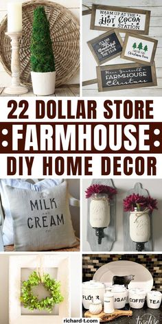 22 Genius Dollar Store farmhouse DIY home decor ideas that everyone should try! These farmhouse home decor ideas are so beautiful and cheap!! #farmhouse #homedecor #DIY #dollarstore