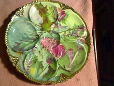 """BEAUTIFUL ANTIQUE O ROYAL AUSTRIA OYSTER PLATE 8 3/4"""" ACROSS"""
