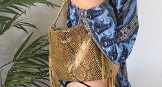 Yellow snake print shoulder bag