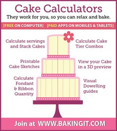 Introducing FREE Cake Calculators by Baking It . They are a great resource for calculating, designing and stacking cakes. Just signup with email or Facebook for Free!!