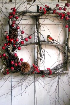 Great winter wreath for hanging on the side     of the potting shed.