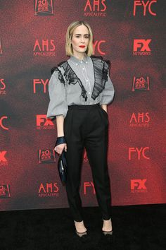 "Sarah Paulson in Miu Miu Ensemble Featuring Striped Top with Lace Detailing at thge ""AHS Apocalypse"" FYC Event Emma Roberts, Ahs, Red Carpet Fashion, Apocalypse, Role Models, Lace Detail, Miu Miu, Normcore, Celebs"