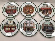 Williams Sonoma Andrea Renoux French Cafe Portraits Plates Lot of 6 #WilliamsSonoma