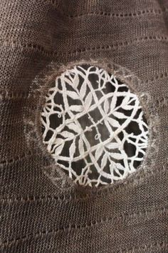 Creative darning: using a piece of lace to mend - lace/crochet patch Fabric Art, Fabric Crafts, Sewing Crafts, Sewing Projects, Textiles, Art Du Fil, Visible Mending, Make Do And Mend, Lace Insert