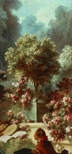 "Jean-Honoré Fragonard (1732–1806)  ""The Progress of Love: Lover Crowned"" 1771-73 [detail from the garden]"