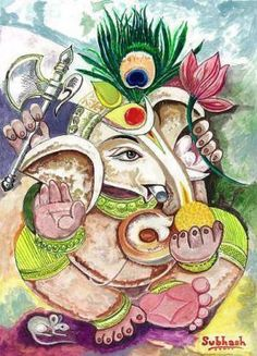 Lord ganesh, painting by subhash bhate