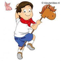 Spel 8: Paardenrace, speldag thema boerderij voor kleuters, kleuteridee.nl , farm games for preschool field day.