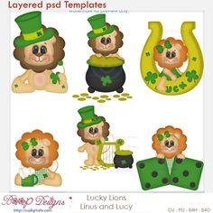 Lucky Irish Lions - Linus & Lucy Layered Element Templates , cudigitals.com, cu, commercial, scrap, scrapbook, digital, graphics, clipart,
