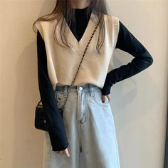 Korean Girl Fashion, Korean Street Fashion, Look Fashion, Fashion Outfits, Korean Outfits, Retro Outfits, Cute Casual Outfits, Vest Outfits For Women, Sweater Vest Outfit