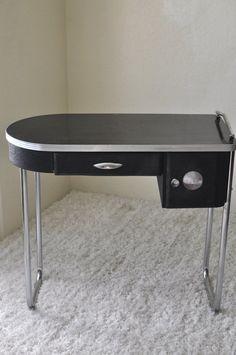 Art Deco 1930's Metal & Aluminum Vanity/Desk Wolfgang on Esty for $295.