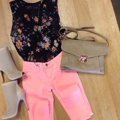 It's time to brighten up! Shop these styles right now at VampedBoutique.com Secret Garden Top | Neon Skinnies | Jupiter Bootie | Gisele Crossbody   #ootd #floral #neon  vampedboutique (Vamped Boutique Official IG) on Instagram