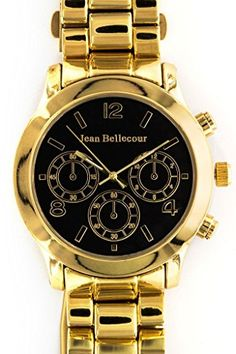Jean Bellecour Gold Black Dial Decorative Chronograph Waterproof Shock Resistant japanesequartz >>> To view further for this item, visit the image link.