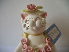 Whimsiclay Porcelain Cat Figurine/Photo Holder W/Tag Amy Lacombe #87405 Satin | eBay