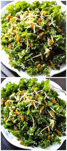 The Best Kale Salad EVER. Lemon Parmesan Kale Salad. #recipe