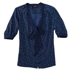 jason wu blouse with tie in navy dots from target
