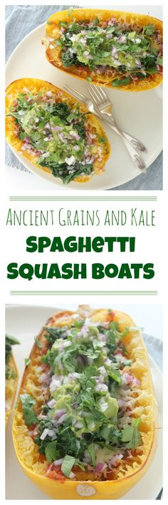 Ancient Grains and Kale Spaghetti Squash Boats. Roasted spaghetti squash topped with salsa sauteed kale cheddar guacamole red onion and cilantro served in the spaghetti squash shell. This is an easy healthy and flavorful dinner thats perfect for b Healthy Vegetable Recipes, Vegetarian Entrees, Vegetable Dishes, Vegetarian Options, Spaghetti Squash Boat, Baked Spaghetti, Healthy Low Calorie Breakfast, Squash Boats, Sauteed Kale