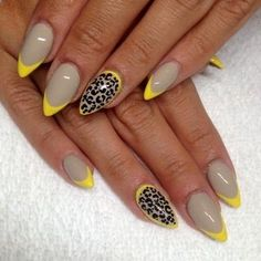 Cheetah and neon accents with gray nails make for a chic combination!