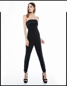 Bershka Spain - Strapless fitted jumpsuit with frill