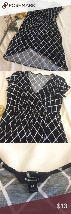 EXPRESS Crosshatch Dress Black and white crosshatch design v-neck EXPRESS dress. Lightweight dress, shorter v cut in front bottom with belt loops at waist. Gently worn twice. Size Medium. Express Dresses