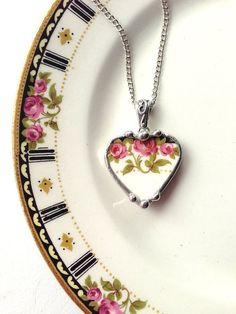 Broken china jewelry heart pendant necklace Art Nouveau roses made from a broken plate