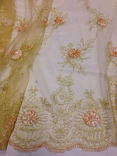 "Gold Mesh w Gold Peach Embroidery Lace Fabric 50"" Wide 1 Yard 