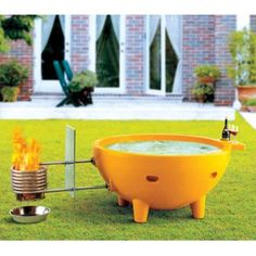 Alfi brand Green FireHotTub The Round Fire Burning Portable Outdoor Hot Bath Tub