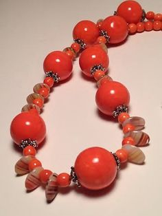 Ceramic Orange Beaded and Silver Plated Necklace, Bracelet and Drop Dangle .925 Sterling Earrings | Fall Fashion