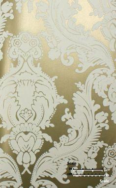 Plush Flocked Wallpaper Heirloom Damask Gold Leaf/White Velvet | designyourwall.com $219.00