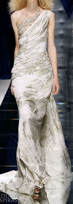 Zuhair Murad | white one-shoulder embellished evening gown with train | high fashion