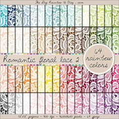 SALE Wedding or Valentine's day romantic lace digital romantic floral #scrapbooking paper in #rainbow colors. #Scrapbooking #printable papers or #patterns for #crafts, #journaling, party organization and decor or any #DIY projects. NOW 40% OFF