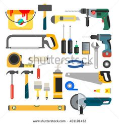 Working tools set. Tools for repair and construction. Hand drill, saw, level, hammer, screwdriver and other construction tools. Home repair flat icons.