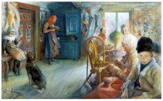 Peasant Interior in winter, 1890, Carl Larsson
