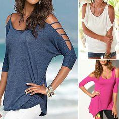 ee54584db0d3a Different Cold-shoulder Blouse Shoulder Shirts