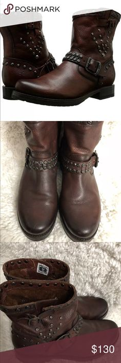 Frye Veronica studded moto boots size 7.5 Very good condition size 7.5 dark brown leather Frye Shoes Combat & Moto Boots