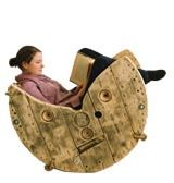 Cable reel rocking chair -- with stops so you don't rock too far back or forwards