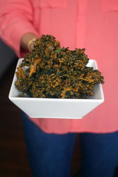 """Cheesy"" kale chips recipe - Tried making these last night and they were delicious but mine came out soggy... I think it all depends on the thickness of the coating and your oven but I would say these need to cook more @ 250 for 50 mins.  Will try another batch tonight!"
