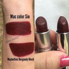 Mac Lipstick Swatches, Mac Sin Lipstick, Maybelline Lipstick, Berry Lipstick, Mac Lipsticks, Velvet Lipstick, Mac Dupes, Drugstore Lipstick Dupes, Wine Lipstick