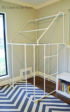 DIY PVC Pipe Fort or play house - with instructions, diagram and cut list...want to modify this to fit over the closet for a playhouse for the girls .