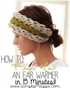 Free knitting pattern for Finger Knit Ear Warmer headband and more headband knitting patterns