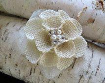 Burlap Wedding Hair Flower, Bridal Hair Flower with Swarovski Jems and Pearls