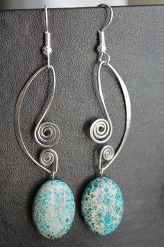 Lovely Blue Jasper Oval Earrings by EllieBegin on Etsy,