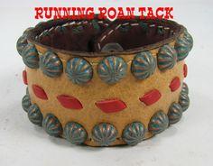 Buckskin Cuff Bracelet with Red Buckstitch by Running Roan Tack