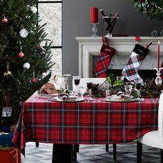 Williams Sonoma Classic Tartan Plaid Tablecloth #christmasdecor #plaidchristmas #christmastable #promoted