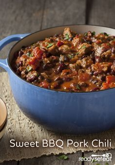 Black and red beans with tender pieces of pork shoulder simmered in a homemade sweet BBQ sauce with brown sugar, garlic and tomato sauce for a fusion of BBQ pork and chili