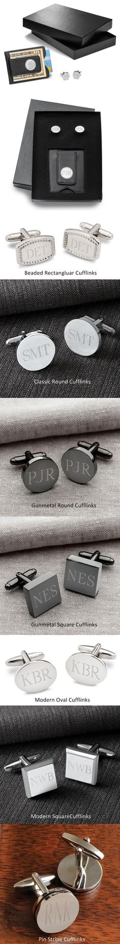 Personalized Black Leather Wallet & Cufflinks Set (7 Cufflink Styles)